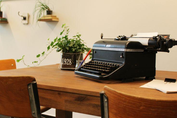 vintage office makeover with an old Halda typewriter