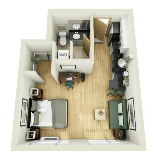 236 best images about 1 bedroom apartment floor plan on for Studio apartment design 3d