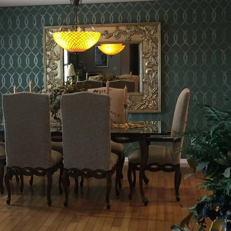 Did This Metallic Wall Finish Catch Your Eye We Love A Subtle Stencil Like Stenciled Accent WallsGray Dining RoomsStencil