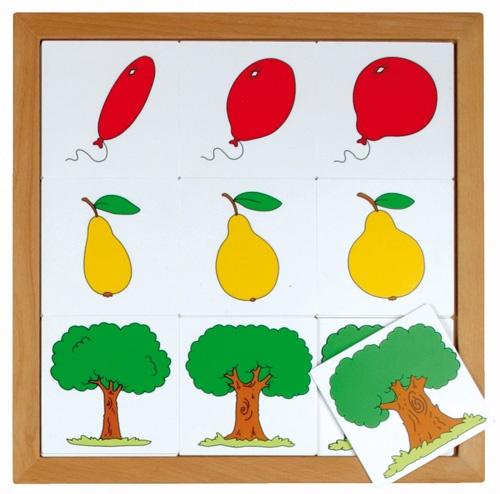 --- Begrippenlotto van dun naar dik --- Speciaal ontwikkeld voor kinderen van 2-5 jaar. Acht eenvoudige lotto's, passend bij de belevingswereld van deze leeftijd. Alle spellen zijn gemaakt van 2,5 mm kunststof en per spel verpakt in een beukenhouten inlegraam. Alle 8 lotto's samen passen in de puzzelkast 34. Formaat: 34 x 34 cm. 523 011
