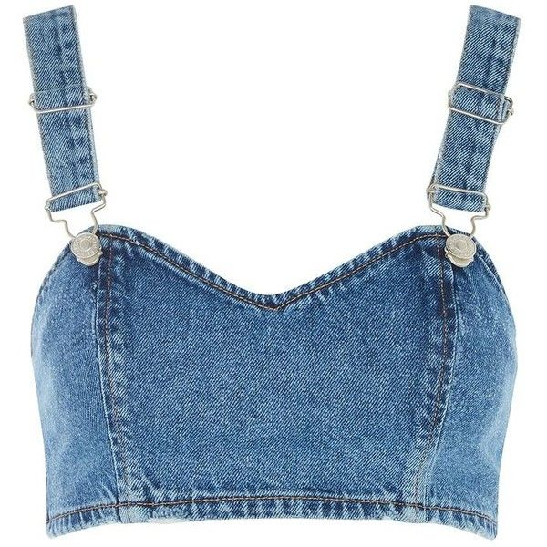 Tops ($39) ❤ liked on Polyvore featuring blue top, denim top, denim bralet tops, bralette tops and bralet tops