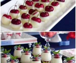 Chocolate dipped cherries & mini trifle desserts.