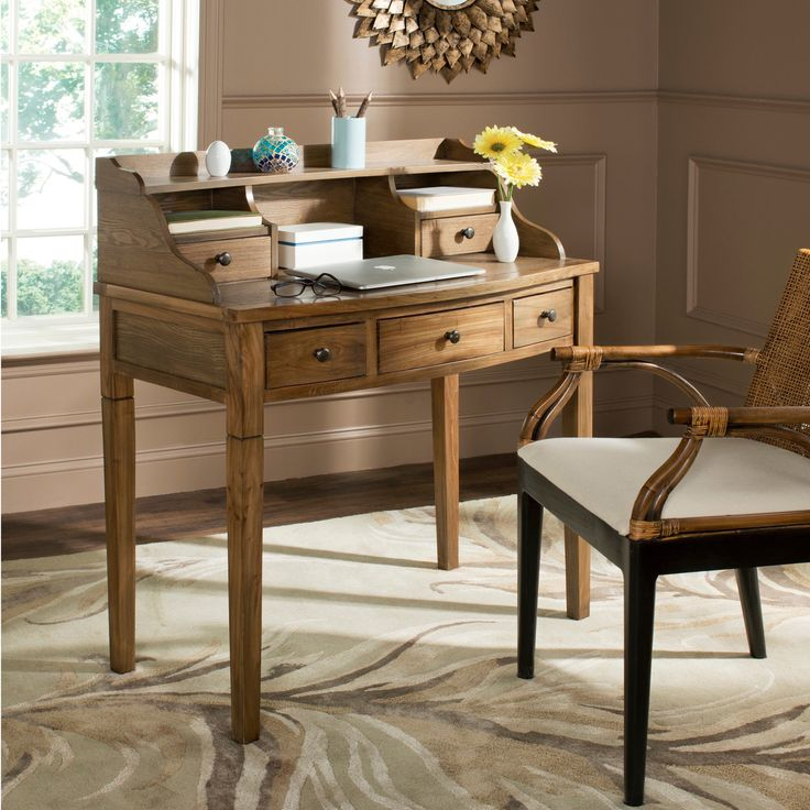 This Tiverton Writing Desk Features A Handsome Oak Finish. Five Drawers And  Three Cubbies Add Nice Look