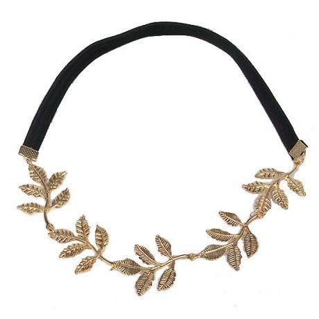tiara corona clsica para bebs diadema romntica boho chic elstica con hojas metalicas en color dorado