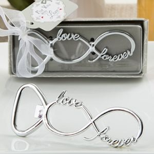Infinity Design Silver Metal Bottle Opener Favors (FashionCraft 4237)   Buy at Wedding Favors Unlimited (http://www.weddingfavorsunlimited.com/infinity_design_silver_metal_bottle_opener_favors.html).