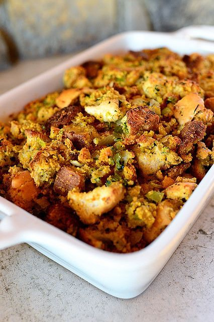 The Pioneer Woman - Thanksgiving Dressing/Stuffing.  Add in some roasted Brussels sprouts, butternut squash, chopped pecans and dried cherries or cranberries.