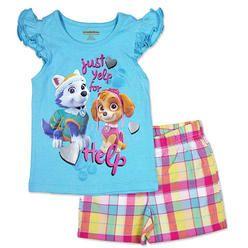 Paw Patrol Nickelodeon Girls Paw Patrol Short Sleeve T Shirt & Plaid Shorts Set (3T)