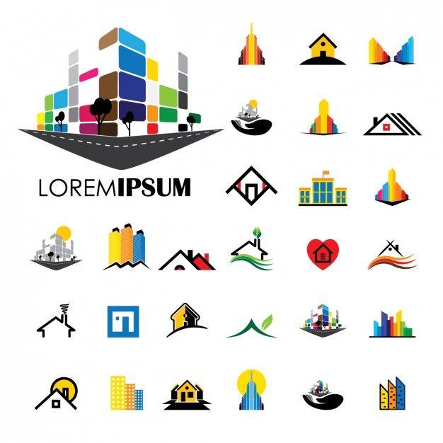 Colección de logos de construcción Vector Gratis