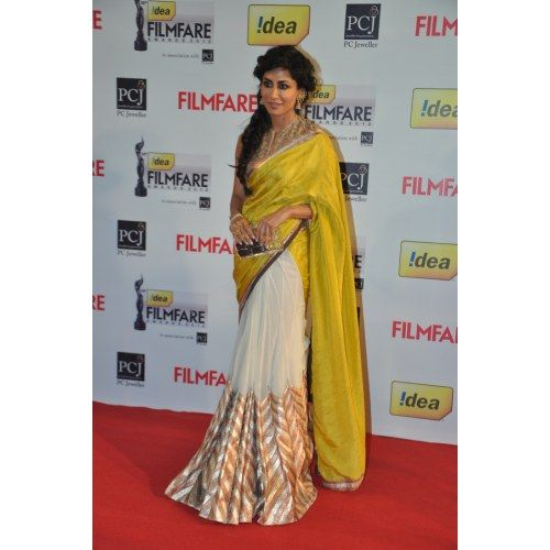 Yellow white Georgette Bollywood designer Saree.