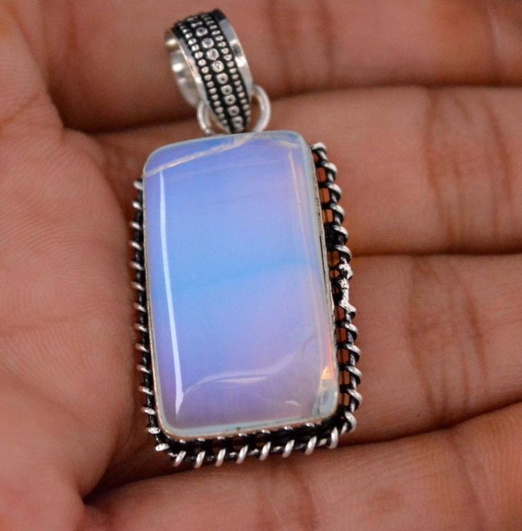 Vintage Look Simulated Opal Sterling Silver Plated Pendant Xmas Gift For Her P37 #valueforbucks #Pendant