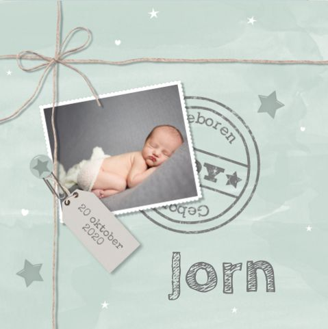Stoer geboortekaartje #mint #foto #stempel