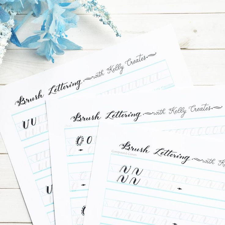 Brush Lettering Worksheets from Kelly Creates