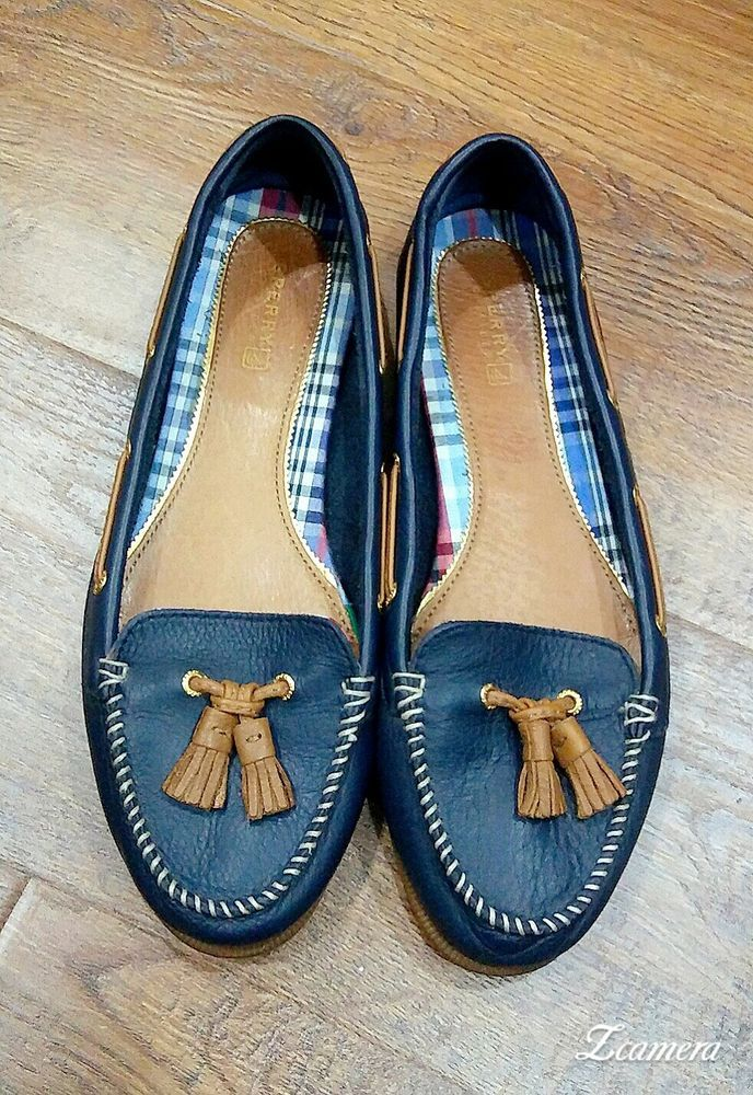 Sperry Women's Top Sider Navy Blue Boat Shoes Leather Tassel Tops   #SperryTopSider #BoatShoes