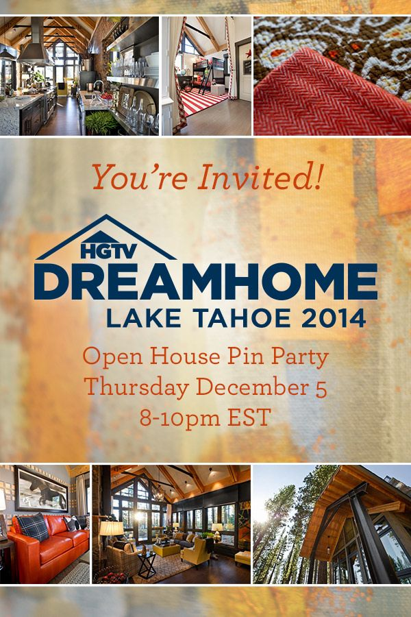 Join us here, Tomorrow (Thursday) 8pmET for an open house pin party.  We're pinning our favorite rooms from HGTV Dream Home 2014 and sharing behind-the-scenes exclusives from the construction and design of the home.  http://www.pinterest.com/hgtv/hgtv-dream-home-2014/