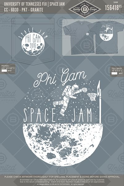 University of Tennessee FIJI Space Jam #BUnlimited #BUonYOU #CustomGreekApparel #GreekTShirts #Fraternity #Sorority #GreekLife #TShirts #Tanks #Moon #SpaceJam #FIJI #PhiGam #PhiGammaDelta #Basketball #Astronaut #SpaceFunction #Function #Mixer #Space #Planets