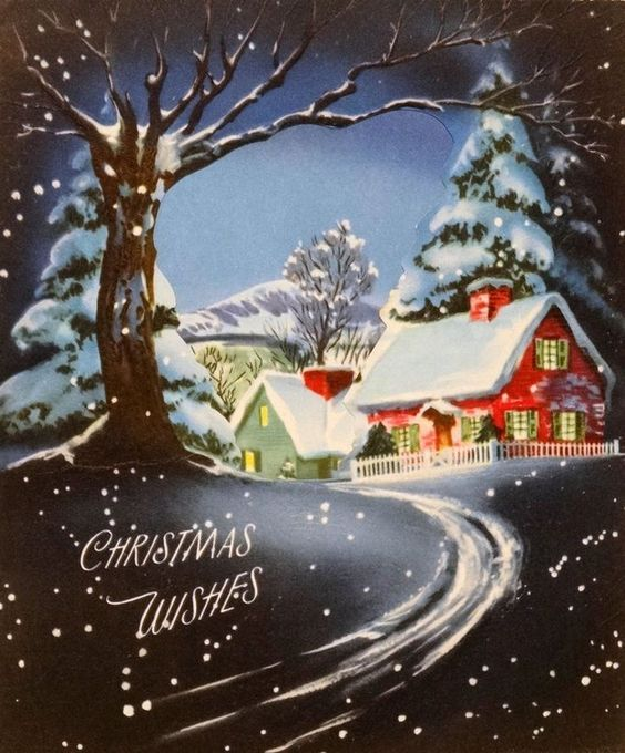 Christmas Wishes. Vintage Snow Scene. Retro Christmas Card.