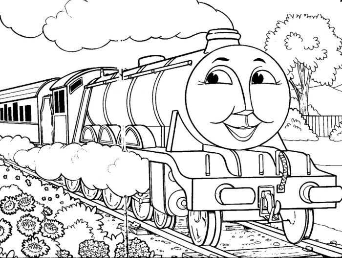 gorgon the train crosses the road garden coloring pages thomas and friends coloring pages
