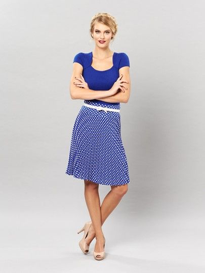 Add a pop of polka dot! Trafalgar Spot Midi Skirt from Review. Gorgeous style with sunray pleats.