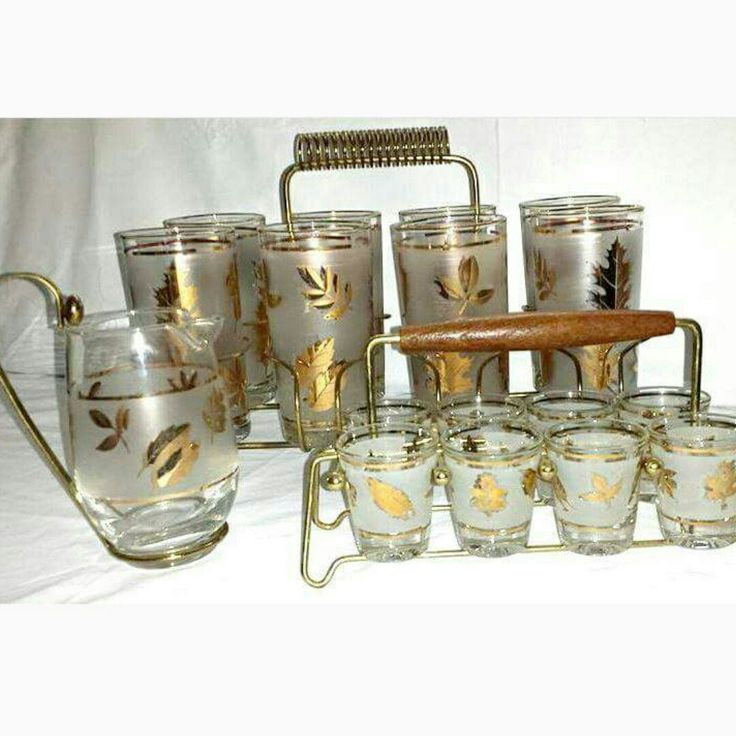 Libbey Gold Leaf Barware  Matching pieces available. Use code JYBVIP20 for 20% off of $25 @ Checkout.  #mcm #madmen #libbey #goldleaf #hollywoodregency #barware #gold #cocktail #glassware #1960s #junkyardblonde