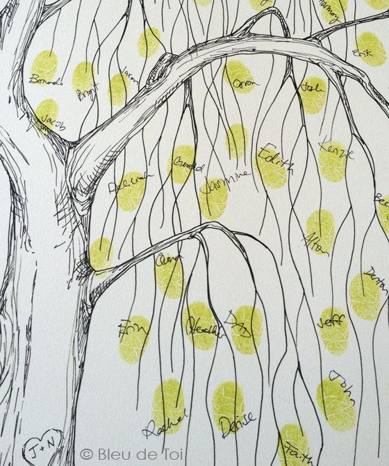 Small Fingerprint Live Oak Tree Wedding Guest Book Hand Drawn: 17 Best Ideas About Wedding Tree Guest Book On Pinterest