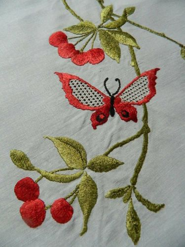 Antique Linen Tablecloth Society Silk Hand Embroidery Butterfly U0026 Cherry  Design