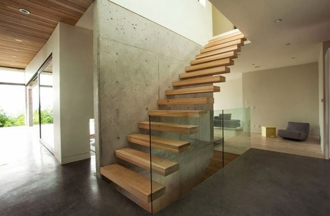 #interior #floating #wood-stairs design
