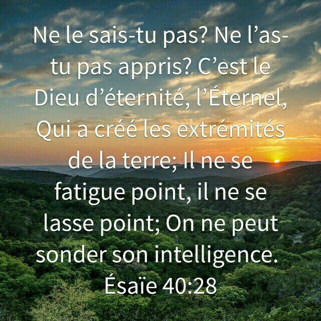 Esaïe 40:28 Ne le sais-tu pas? ne l'as-tu pas appris? C'est le Dieu d'éternité, l'Eternel, Qui a créé les extrémités de la terre; Il ne se fatigue point, il ne se lasse point; On ne peut sonder son intelligence. 29 Il donne de la force à celui qui est fatigué, Et il augmente la vigueur de celui qui tombe en défaillance ...31Mais ceux qui se confient en l'Eternel renouvellent leur force. Ils prennent le vol comme les aigles; Ils courent.. Ils marchent, et ne se fatiguent point.