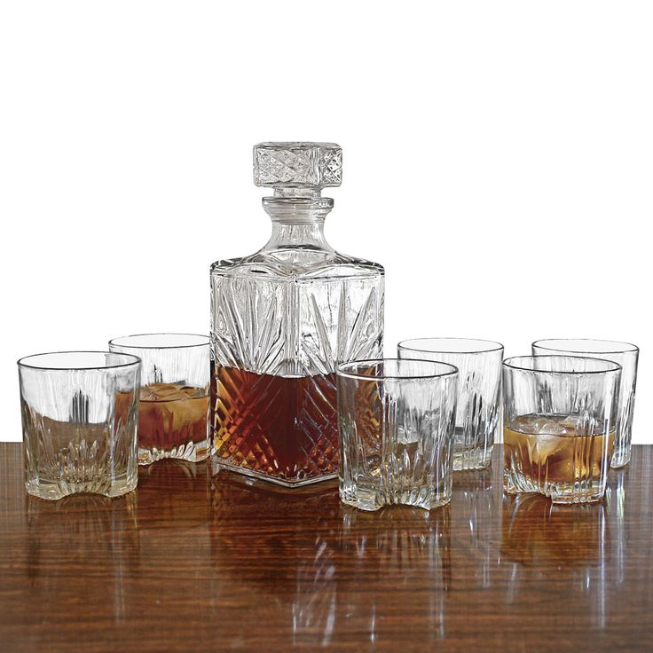crystal decanter set with tray engraved whiskey glasses piece