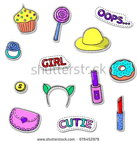 Set of cute stickers with shadows on white. Sweets, girls accessories, text. Vector patch badge collection.