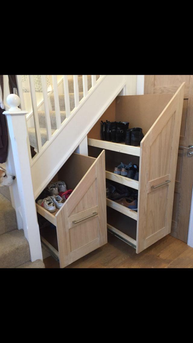 Under Stairs Shoe Storage Drawers With Oak Veneered Shaker Fronts