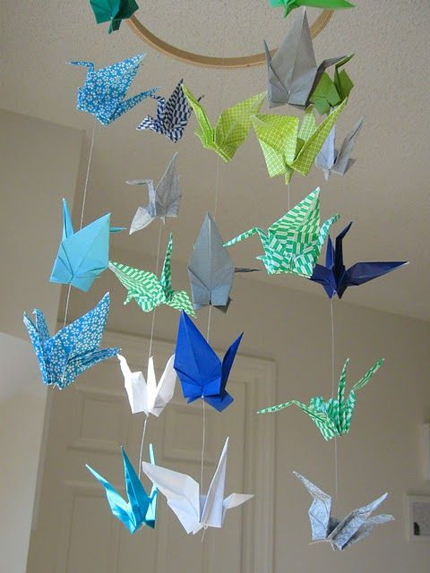 """origami crane mobile for """"around the world"""" themed room"""