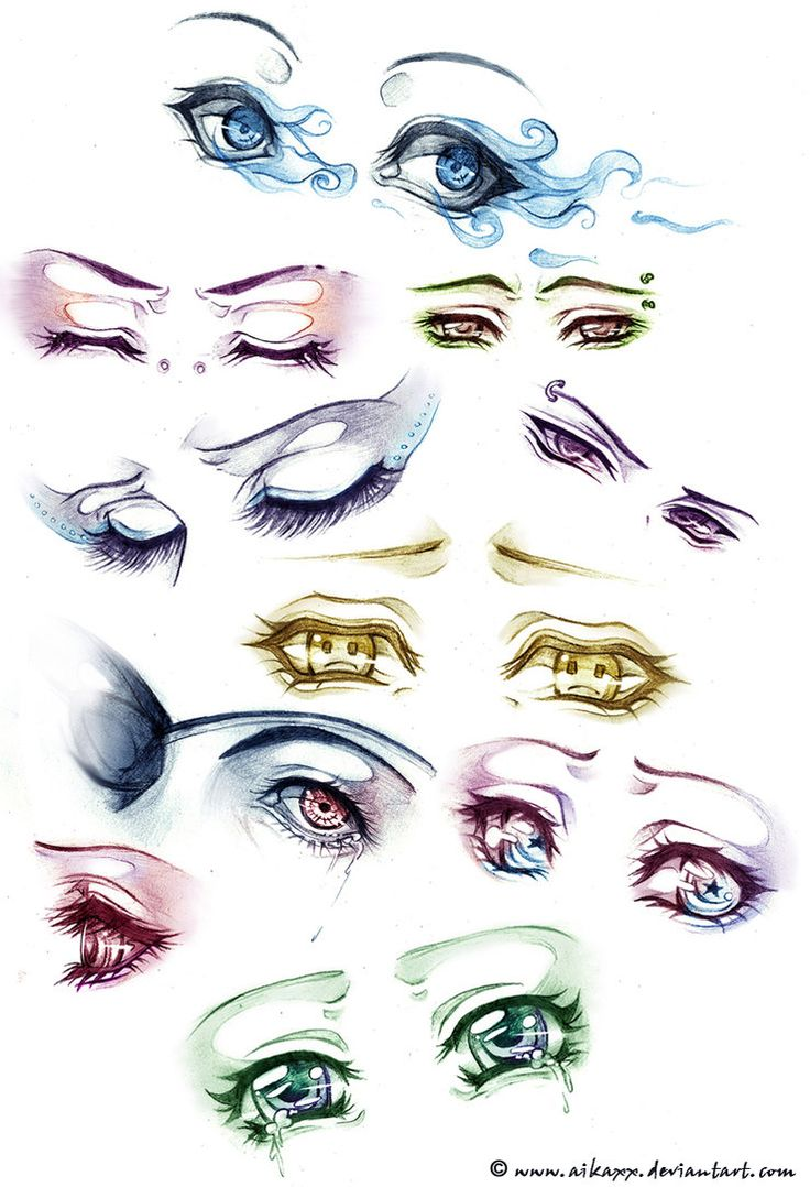 sad and angry anime eyes. The detail is amazing :) i wish i could draw like this :P lol