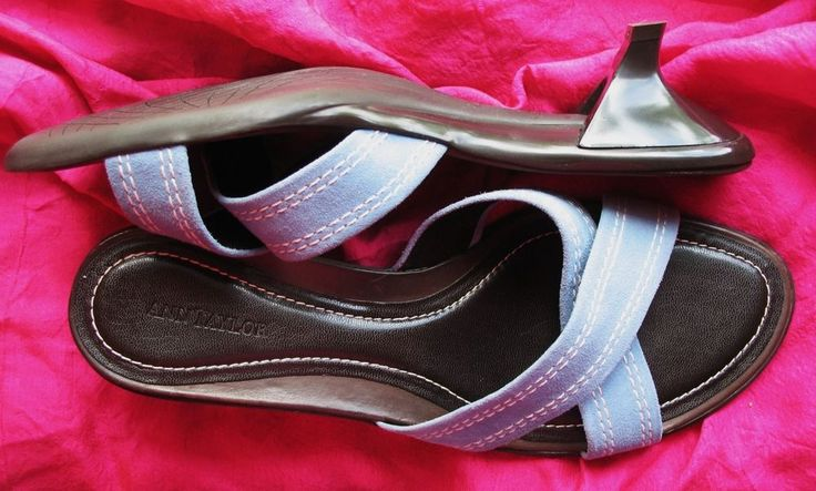 ANN TAYLOR SHOES BLUE SUEDE/LEATHER SLIDES !S 8M/38,5  MADE IN BRAZIL! #AnnTaylor #Slides