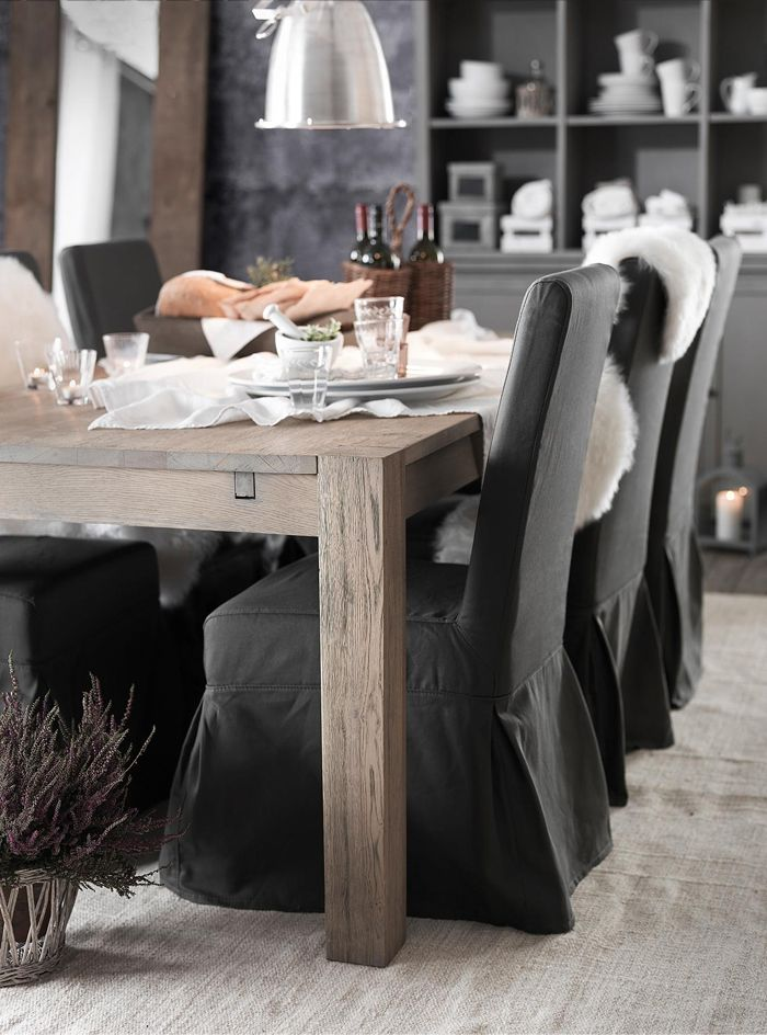 Rustic Wood Table Mixed With Softly Slipcovered Chairs