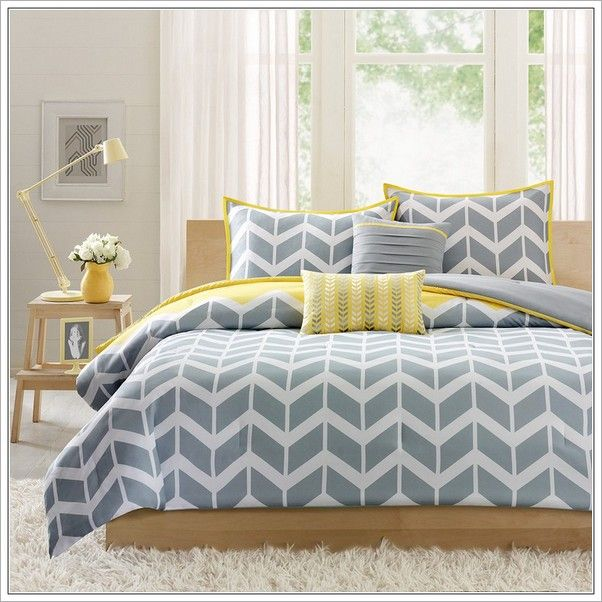 15 must see chevron bedding pins teen bed spreads for Yellow blue and grey bedroom