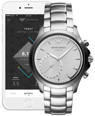 Emporio Armani Men's Connected Stainless Steel Bracelet Hybrid Smart Watch 43mm - Silver