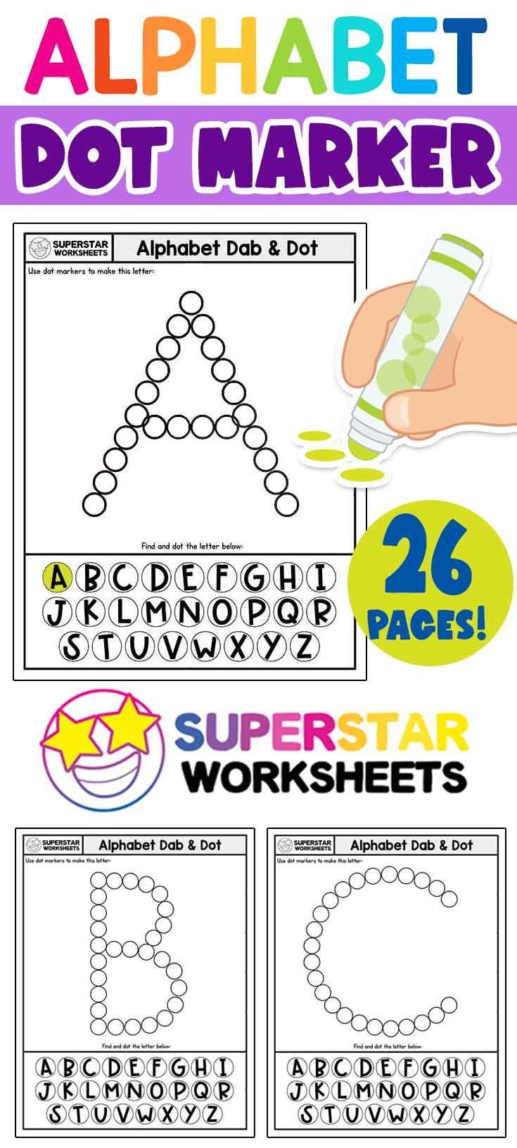 Alphabet Worksheets Dot Marker Activity Pages Free Alphabet Worksheets For Letter Recognition Letter Recognition Worksheets Dot Marker Activities Dot Markers [ 1630 x 735 Pixel ]