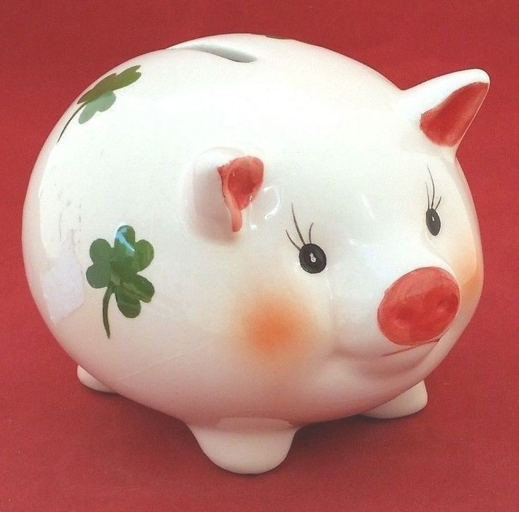Pig Piggy Banks green shamrock decorated glossy ceramic