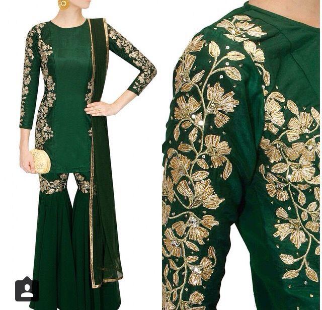 Green Garara with beautiful embroidary