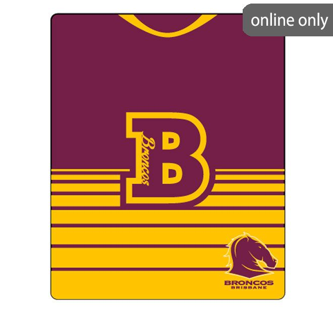 NRL Team Logo Polar Fleece Printed 155x127cm Throw Brisbane Broncos