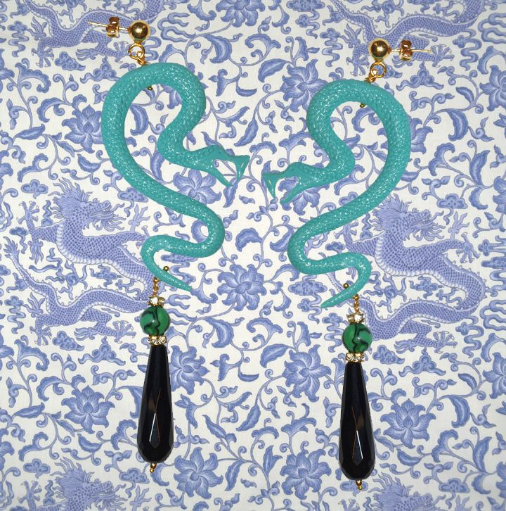 Snake and drop earrings