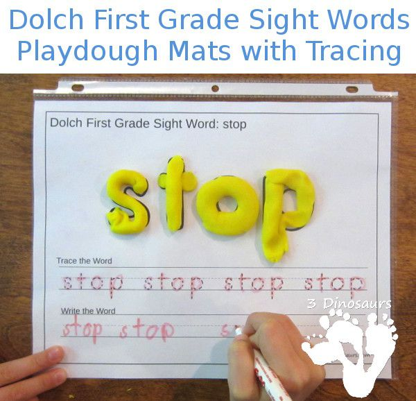 Free Dolch First Grade Sight Words Playdough Mats with Tracing - All 41 words - 3Dinosaurs.com