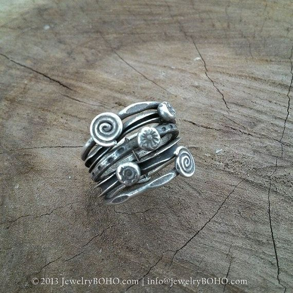 BOHO 925 Silver Ring-Gypsy Hippie Ring,Bohemian style,Statement Ring R042 JewelryBOHO,Handmade 925 Sterling silver BOHO Tribal ring