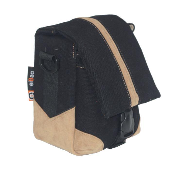 Tas Kamera EIBAG 1750 Hitam  adalah tas kamera untuk kamera mirrorless dengan bahan dari kanvas warna hitam dan variasi bahan suede coklat