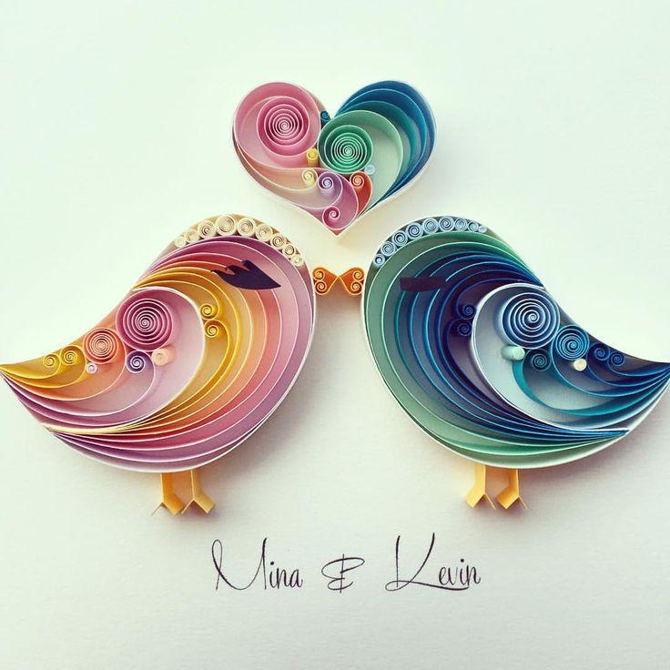 cute couple #senaruna #quilledpaperart #lovebirds