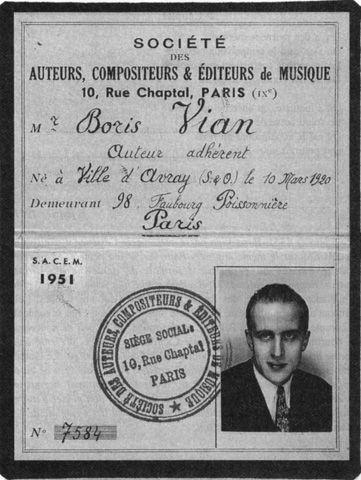 Boris Vian : carte de membre de la SACEM