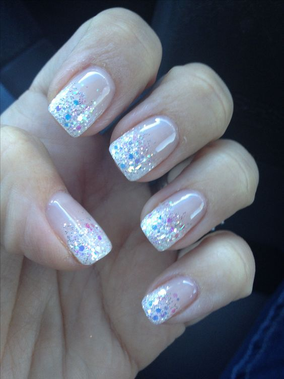The perfect glitter french fade mani!