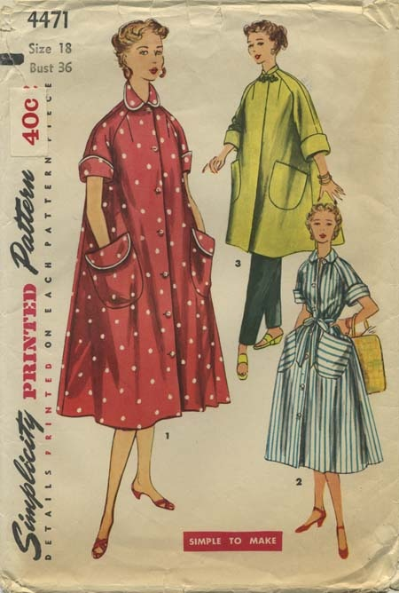 Vintage Sewing Pattern | Robe | Simplicity 4471 | Year 1953 | Bust 36 | Waist 30 | Hip 39