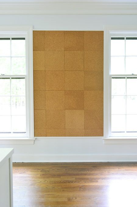 DIY corkboard wall - for the office (smaller scale) via: Young House Love www.younghouselove.com