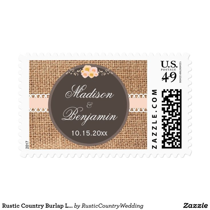 Rustic Country Burlap Lace Wedding Postage Stamps Personalized Rustic Country Burlap Lace Wedding Postage Stamps. Choose the proper postage rate prior to ordering. Just add the bride and groom's names and the wedding date. These have a printed burlap background with a blush ribbon lace design and roses at the top. These are great for country weddings.